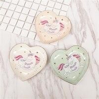 En céramique de Bande Dessinée Licorne en forme de Coeur bols de crème glacée plaques Décoration Artisanat Collation plateau de stockage de bonbons Bijoux plat Collation plat