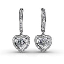 2016 Mejores Cristales de Moda Pendientes de Gota Del Corazón Para Las Mujeres Oro Blanco Plateado Clip On Earring Brincos Joyería de San Valentín de Regalo