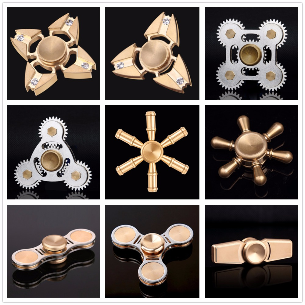 Hot Selling Edc Toys Triangular Hand Spinner Orqbar Brass Metal Premium Fidget Mainan Full Gold 9 Gears Dodoelephant Finger Spin With Box Relieve Stress Focus Toy