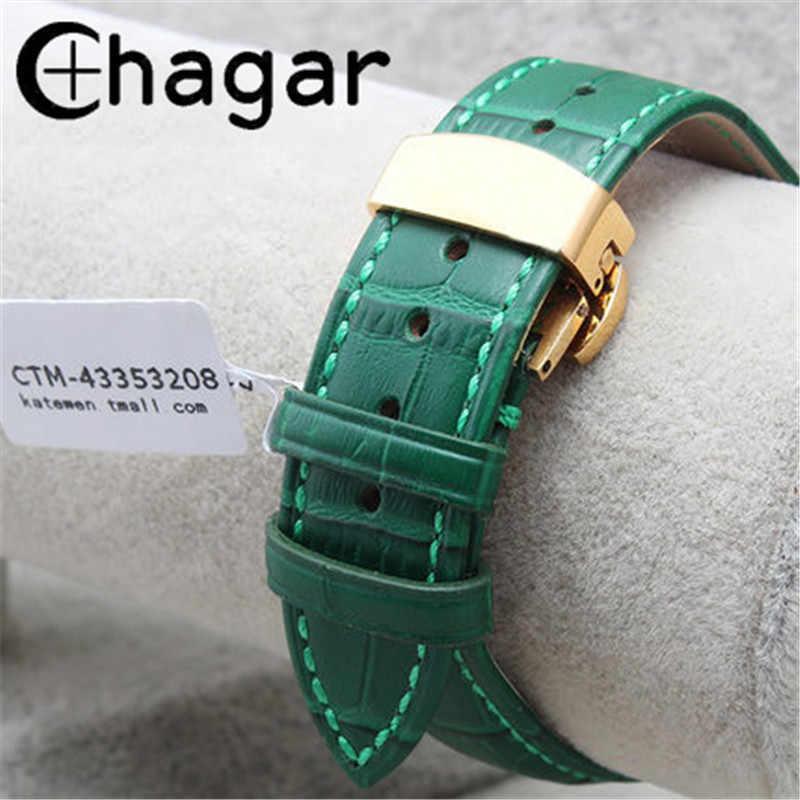 Натуральная кожа зеленый бамбуковый ремешок для часов с застежкой бабочкой 12 мм 14 мм 16 мм 18 мм 20 мм 22 мм Мужские Женские часы ремешок браслет