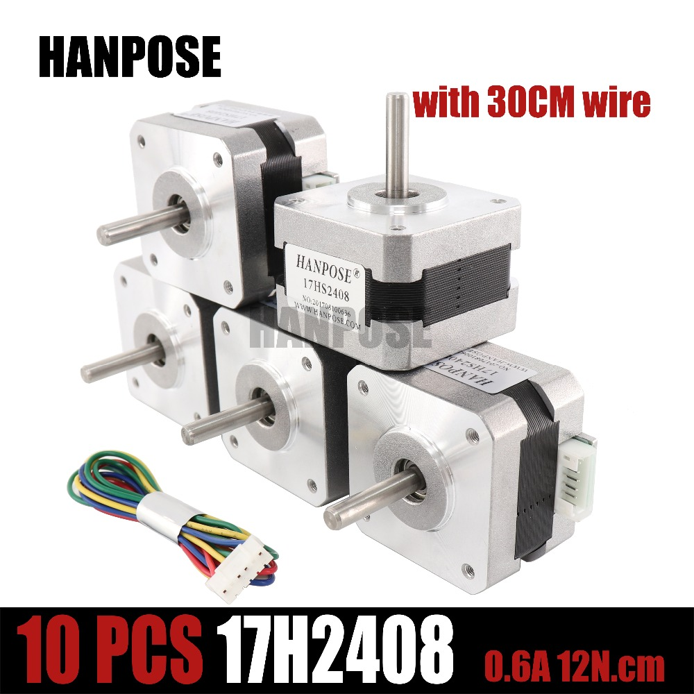 цена на Free shipping 10pcs 4-lead Nema17 Stepper Motor 42 motor Nema 17 motor 0.6A 17HS2408 step motor for CNC 3D printer
