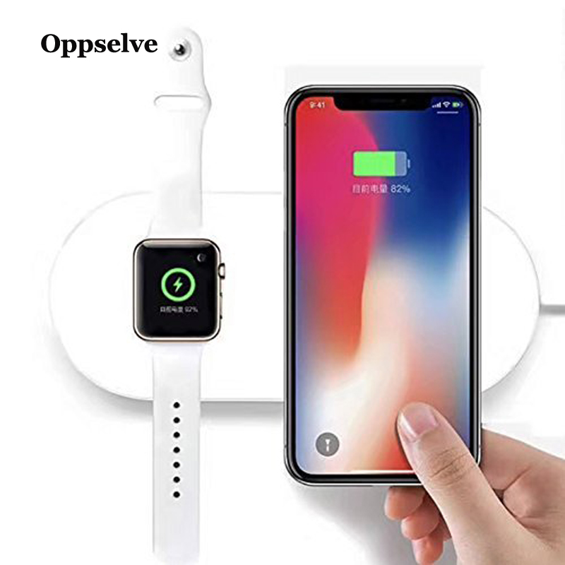 Oppselve 2 in 1 Wireless Charger Pad For Apple Watch 3 2 1 iPhone XR Xs Max X Samsung S9 Desktop Fast Wireless Charging Charger in Mobile Phone Chargers from Cellphones Telecommunications