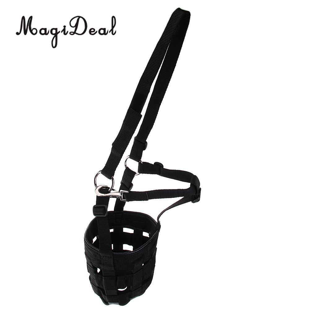 MagiDeal Horse Pony Nylon Grazing Muzzle with Halter Under Chin Head Collar Adjustable - 4 size
