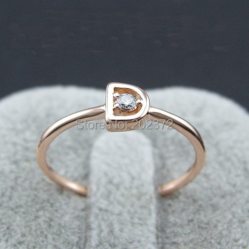 ladies small letter D Ring for women with Simulated diamond,18k