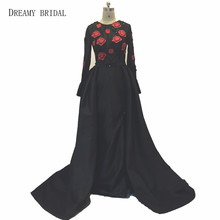 Dreamy Bridal Arabic Sexy Black Evening Dresses Thigh High Slits Illusion Long Sleeves Lace Sweep Train Formal Wear
