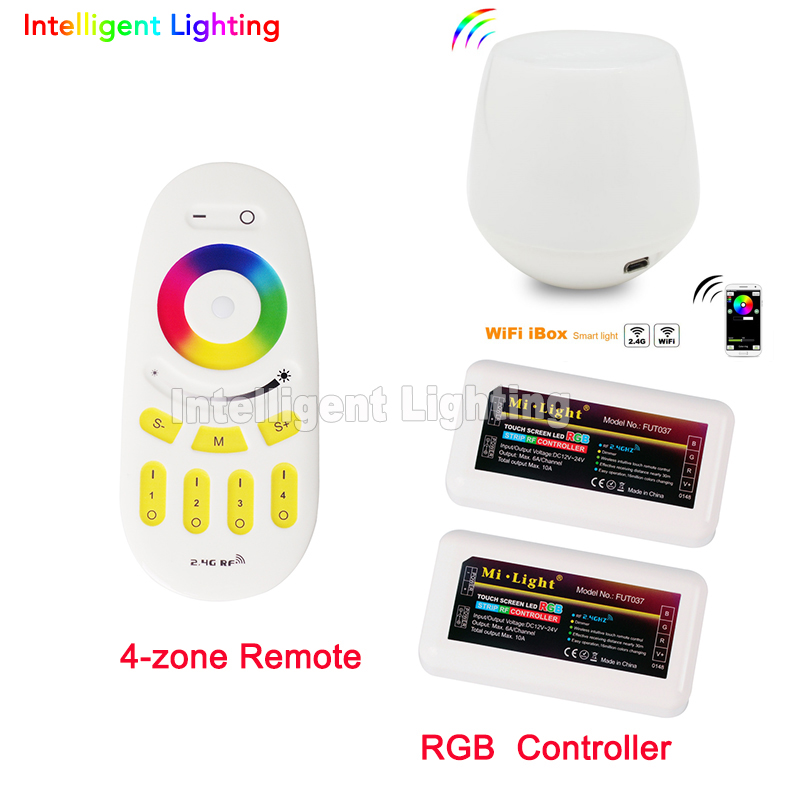 2x 2.4G RGBW Controller + Mi light WiFi controller + 4-Zone wireless remote control Touch Screen For 5050 3528 Led Strip Light milight remote wifi 4x rgbw led controller group control 2 4g 4 zone wireless rf touch for 5050 3528 rgbw led strip light