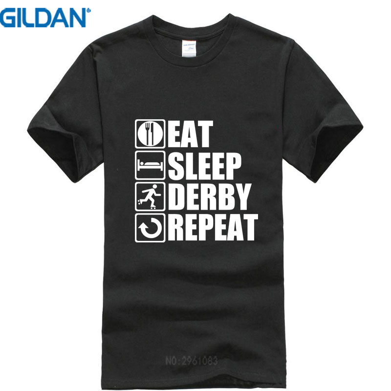100% cotton Clothing Tees Casual Fashion T Shirts Crew Neck Short-Sleeve Eat Sleep Roller Derby Mens T Shirts
