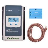 EPever 2210AN MPPT 20A Solar Charge Controller Black Light LCD Solar Regulator for 12V 24V Lead Acid Lithium ion Batteries +MT50