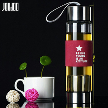 JOUDOO 450ml Portable Glass Water Bottles Bottle with Stainless Steel Tea Infuser Filter Sport Tumbler Gift 35