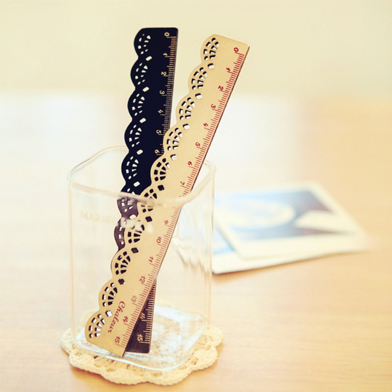 1PC Korea Zakka Kawaii Cute Stationery Lace Brown Wood Ruler Sewing Ruler Office School Accessories