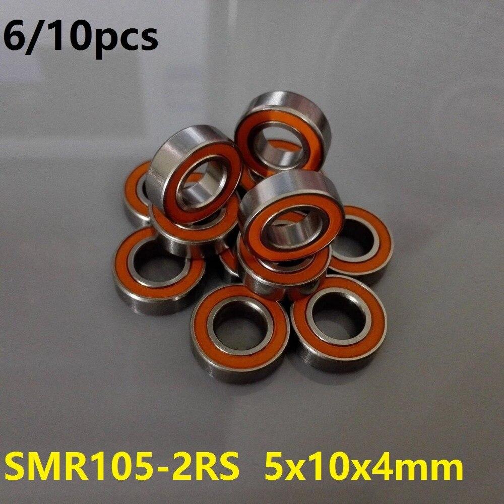6pcs or 10pcs SMR105-2RS SMR105 2RS 5x10x4 mm ABEC7 Stainless Steel hybrid si3n4 ceramic bearing fishing reel bearings 5*10*4 10pcslot mr105 si3n4 full ceramic ball bearing 5x10x4 mm miniature ceramic deep groove ball bearings 5 10 4 fishing reel