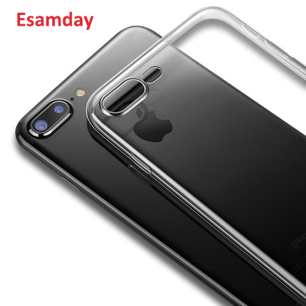 Esamday Clear Silicon Soft TPU Case For 7 7Plus 8 8Plus X XS MAX XR Transparent Phone Case For iPhone 5 5s SE 6 6s 6Plus 6sPlus protective silicone back case for iphone 5 transparent blue
