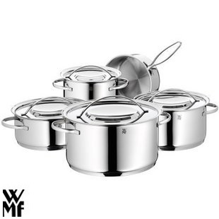 free shipping five pieces set of wmf stainless steel cookware wok soup pot flat bottom pot on. Black Bedroom Furniture Sets. Home Design Ideas