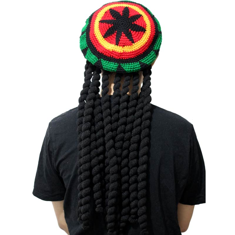 dreadlocks hat Jamaica Rasta Gorro Slouchy Beanie Hat Winter Warm Knitted  Reggae Multi colored Striped Hip Hop Baggy Cap -in Skullies   Beanies from  Apparel ... b7f3278722c3