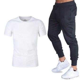Camisetas Ropa Moda Dos De Hombre Conjuntos Marca Piezas Camisa Homme VeranoPantalones Hombres Crossfit Chándal Jogger Traje T ulFTK1cJ3
