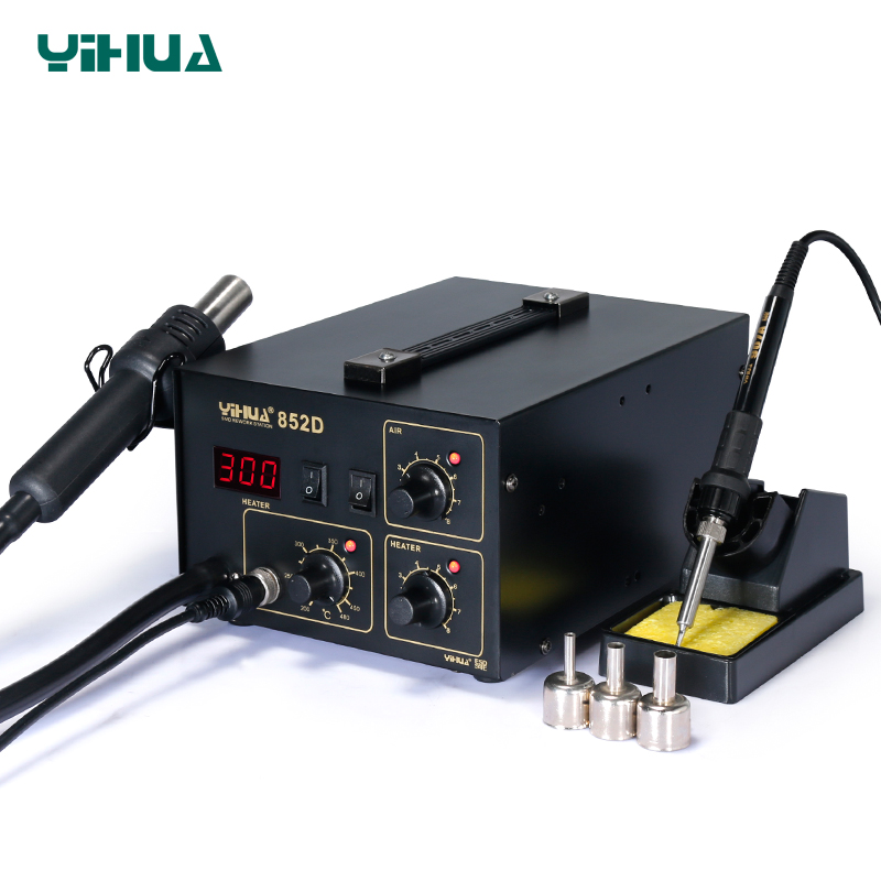 YIHUA 852D Diaphragm Pump Hot Air Soldering Station LED Display Soldering Iron Station 2 In 1 Functions
