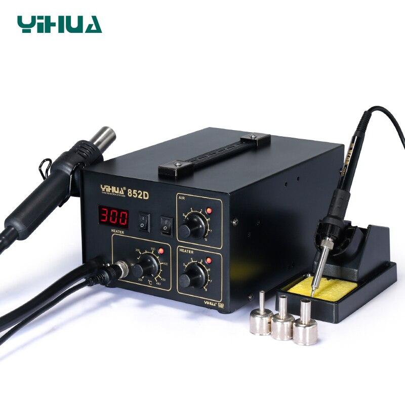 YIHUA 852D pompe à membrane Station de soudage à Air chaud affichage de LED Station de fer à souder 2 en 1 fonctions