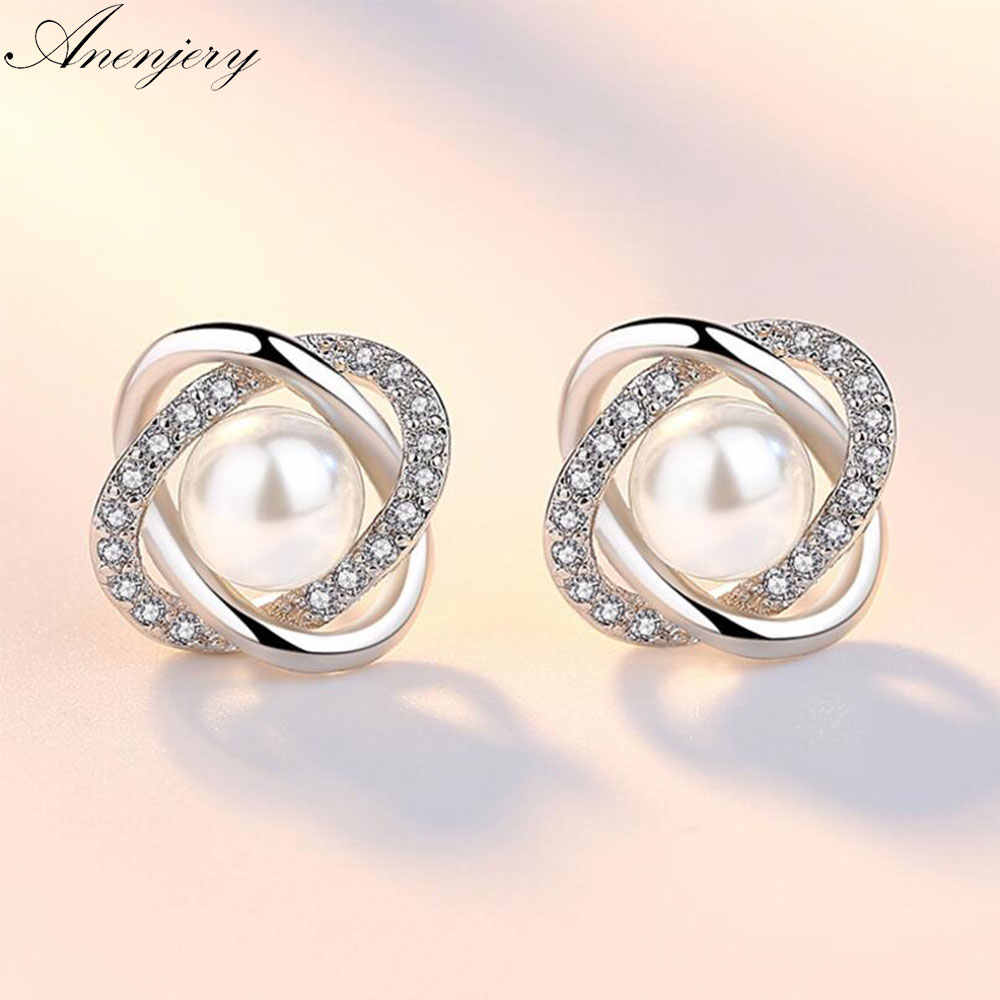 Anenjery Upscale 925 Sterling Silver Earrings Zircon Pearl Twist Luxury Stud Earrings For Women brincos pendientes S-E290