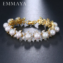 EMMAYA Round Imitation Pearl Unique AAA CZ Bracelet Sets For Women Elegant Jewelry Friendship Bracelets(China)