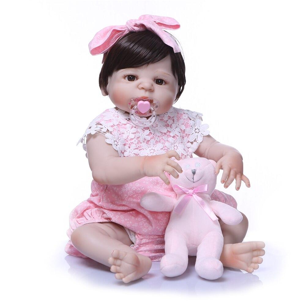 NPK 23 pouces 57 cm corps complet Silicone Reborn bébé fille poupées Reborn peut bain Bebes Reborn realista poupées jouets Juguetes bonecas