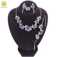 Bridal Jewelry Sets Silver Color Leaf Hollow Out Butterfly Necklace Earrings Bracelet Ring For Wedding Dress(China)