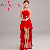 Beauty Emily Chinese red Short Evening Dresses 2018 A line high low crystal Formal evening Gowns Elegant Wedding Party Dresses