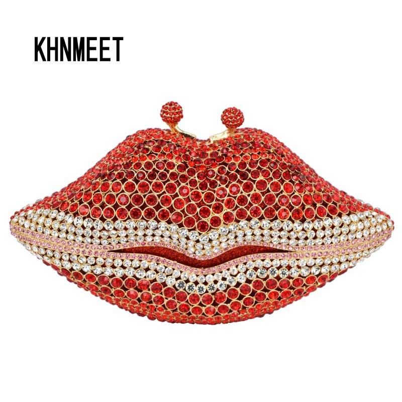 Women s Clutches Chain Handbag Red Lips Luxury Crystal Diamond Female wedding Bag Ladies Party Purse