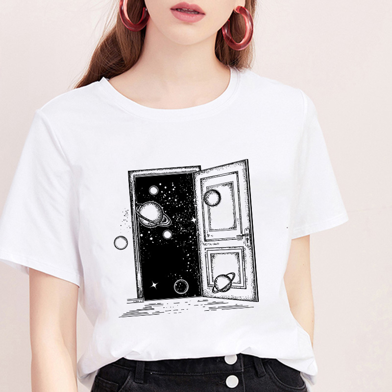 2019 New Summer T Shirt Women Space Aesthetics Printed Harajuku Female TShirt Trend Thin Section Comfortable Korean Tops Tee