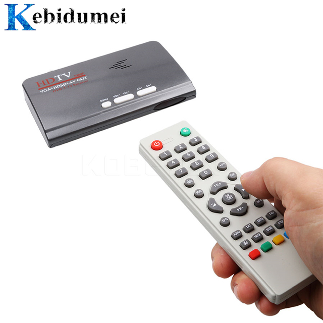 Kebidumei receptor de sintonizador tv, dvb t DVB T2 t/t2, caixa de tv vga av cvbs, 1080p hdmi digital por satélite hd receptor para lcd/crt monitores