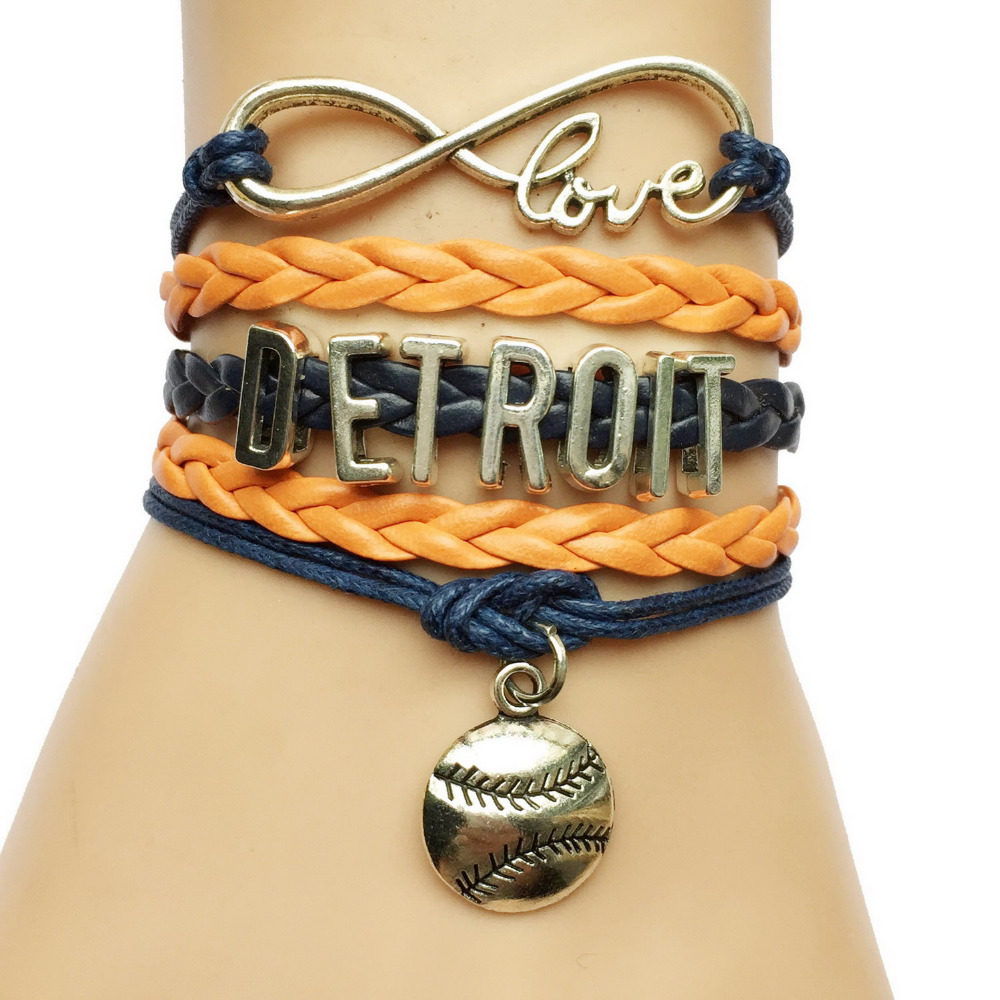 Drop Shipping Infinity Love Detroit Baseball Softball Charm Sports Team  Bracelet Handmade Leather Wrap Strand