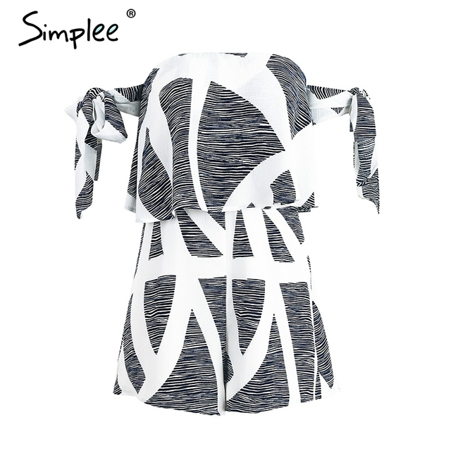 Simplee Off shoulder geometric print jumpsuit romper women Special bandage sleeve short overalls Sexy backless summer playsuit