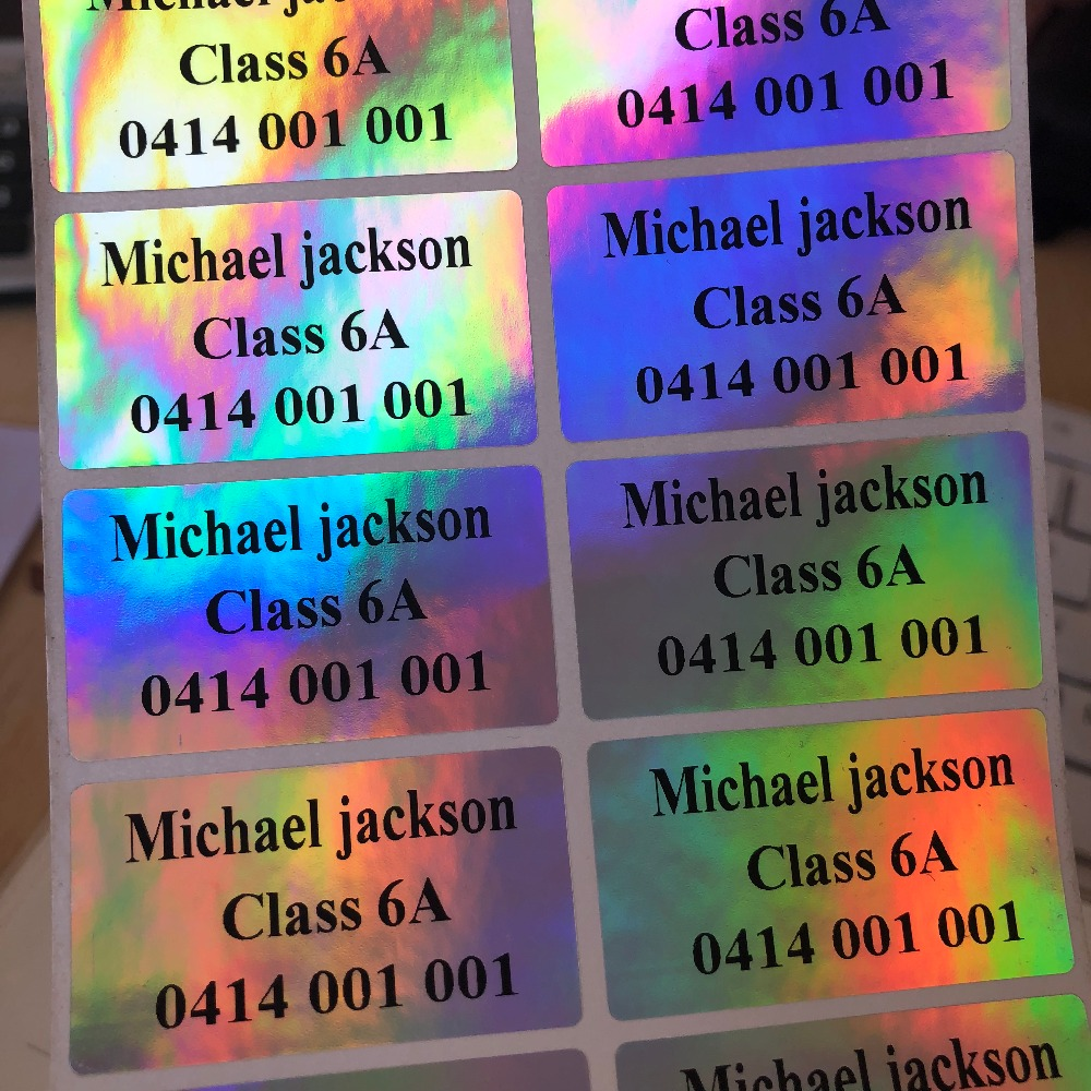 Us 8 54 5 off80 laser iridescent personalised name stickers vinyl tag waterproof name labels pencil labels back to school gifts childcare in party