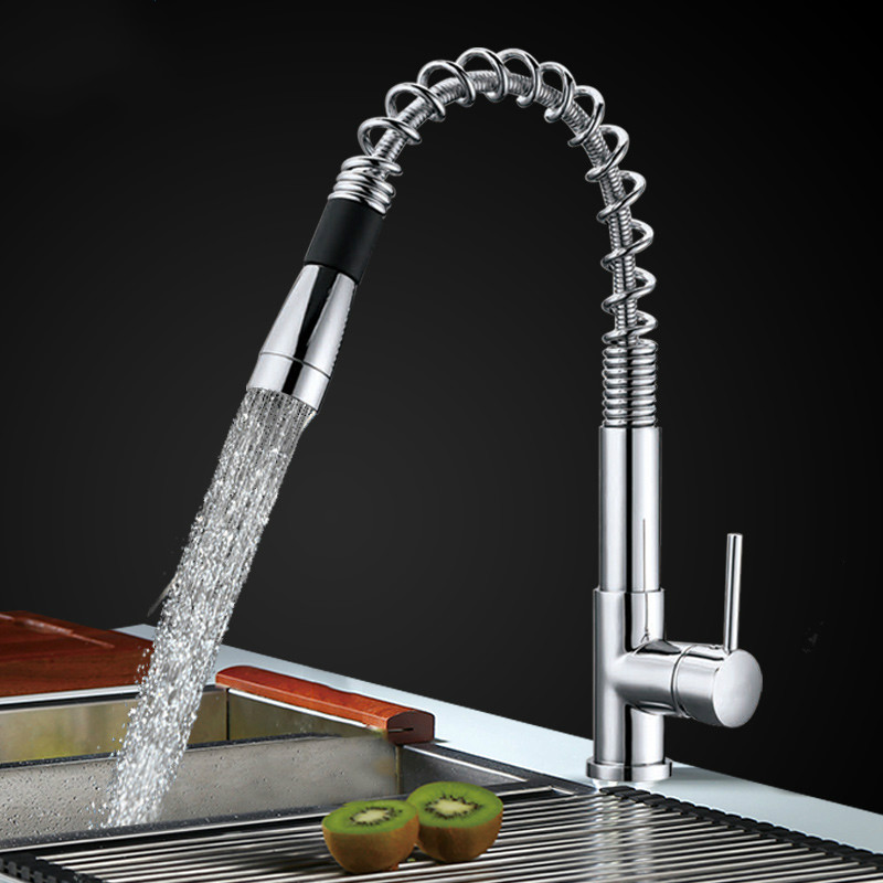 Hot Sale Modern Polished Chrome Pull Out Kitchen Faucet Chrome