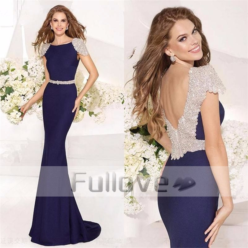 Stunning Crystal Evening Dress Long 2017 Navy Blue Backless Mermaid Formal Prom Party Dresses Gowns Robe De Soiree Abendkleider