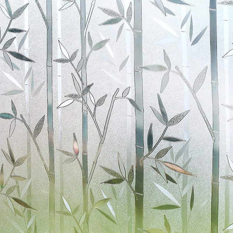 HOONAO 3D Privacy Window Film No Glue Static Window Stickers Film Bamboo Frosted Window Films Decorative Glass Film 45 x 200cm
