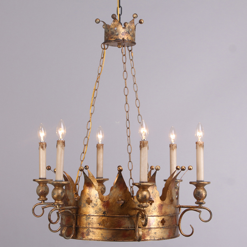 Ретро corwn подвесные светильники принцесса украшения комнаты лампа из кованого железа старый антикварная лампа Личность Корона подвесные с