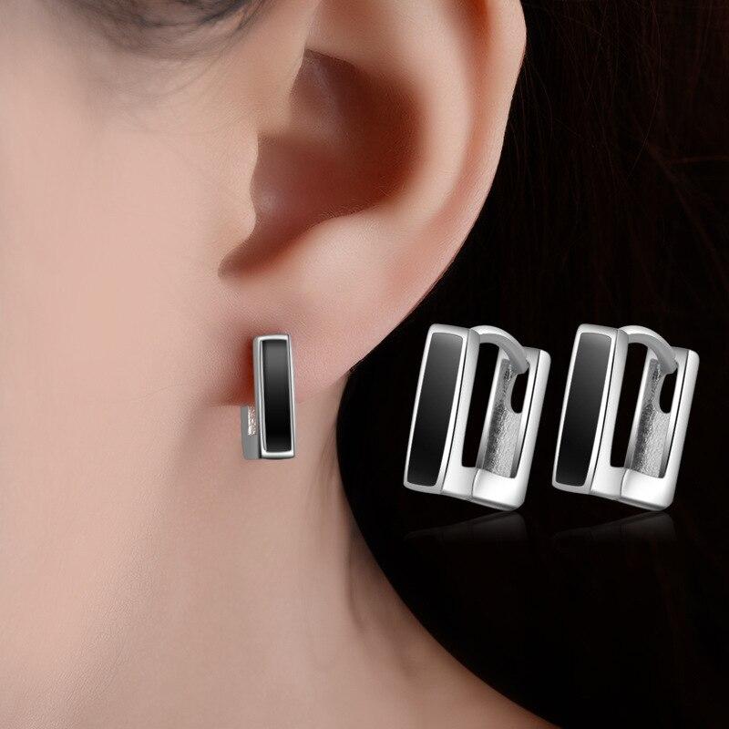 1a35280a78d2 Pendientes de moda de Plata de Ley 925 Pendientes de esmalte negro de alta  calidad para mujer Accesorios de envío directo - www.salleram.ga