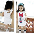 Summer Girls Dress Princess Baby Mickey Minnie Mouse Dress for 3-8 Years