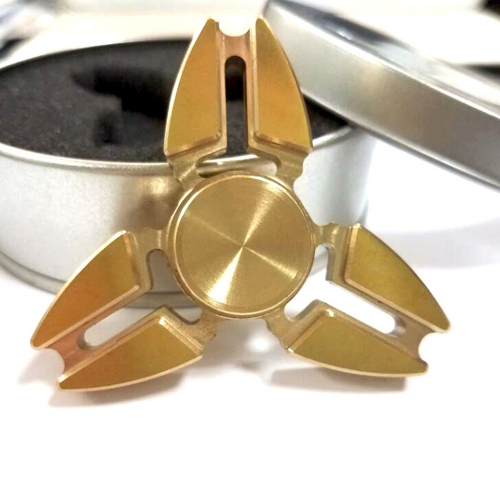 Cool Gold Tri Spinner Fidget Toy Pattern Hand Spinner Brass Fidget Spinner And DHD Children Adults