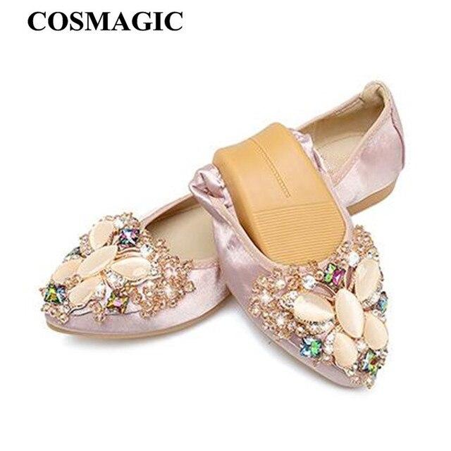 COSMAGIC 2017 New Women Silk Butterfly Rhinestone Flats Shoe Green Gray  Pink Slip on Fashion Pointed Toe Bling Folding Shoe 765b2c813cbe