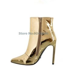 b85c869dfb87 Pointed Toe Metallic Over The Knee Boots Rose Gold Silver Patent Leather  Mirror Effect Stiletto Heel