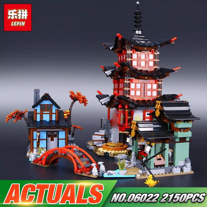 DHL Lepin 06022 2150 pcs Bâtiment Série Le 70751 Temple de Airjitzu Ensemble Blocs de Construction Briques Jouets Pour Enfants Comme cadeaux d'anniversaire