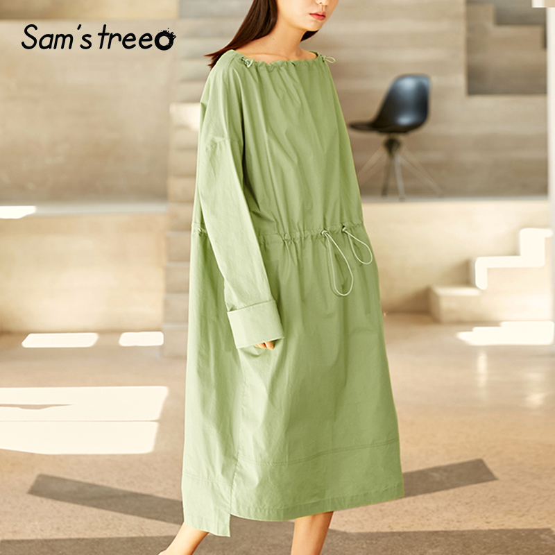 Samstree Spring Summer Drawstring Waist Loose Dress Women Solid Color Slash neck Mid Calf Full Sleeve
