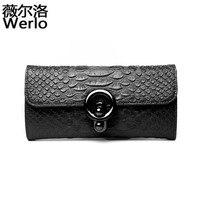 WERLO Brand New Designer Women Bag Genuine Leather Women Wallets Alligator Ladies Clutch Wallets Evening Bags