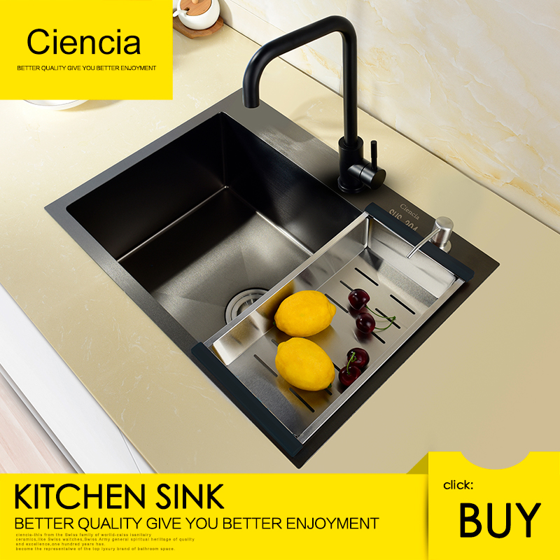 buy undermount kitchen sink building island free shipping ciencia stainless steel black single set with faucet not sticky oil for in sinks from home