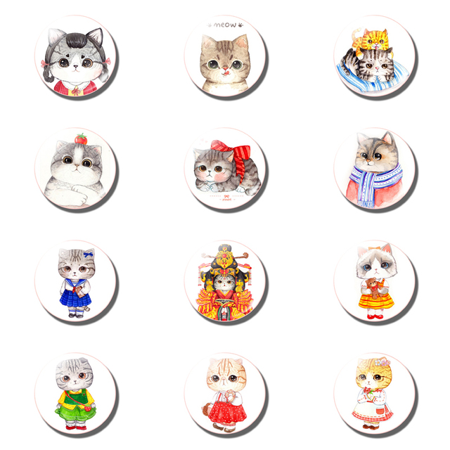 12pcs Cute Cat Fridge Magnet Sets Lovely 25MM Glass Note Holder Removable Magnets Refrigerator Sticker Magnetic Home Decor 3