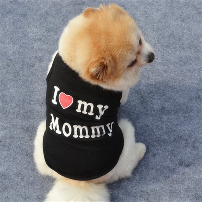 Classic Love Mommy & Love Daddy Print Dog Vest Unisex Puppy Cat T Shirt Sleeveless Clothing Cute Dogs Clothes For Small Doggy 3