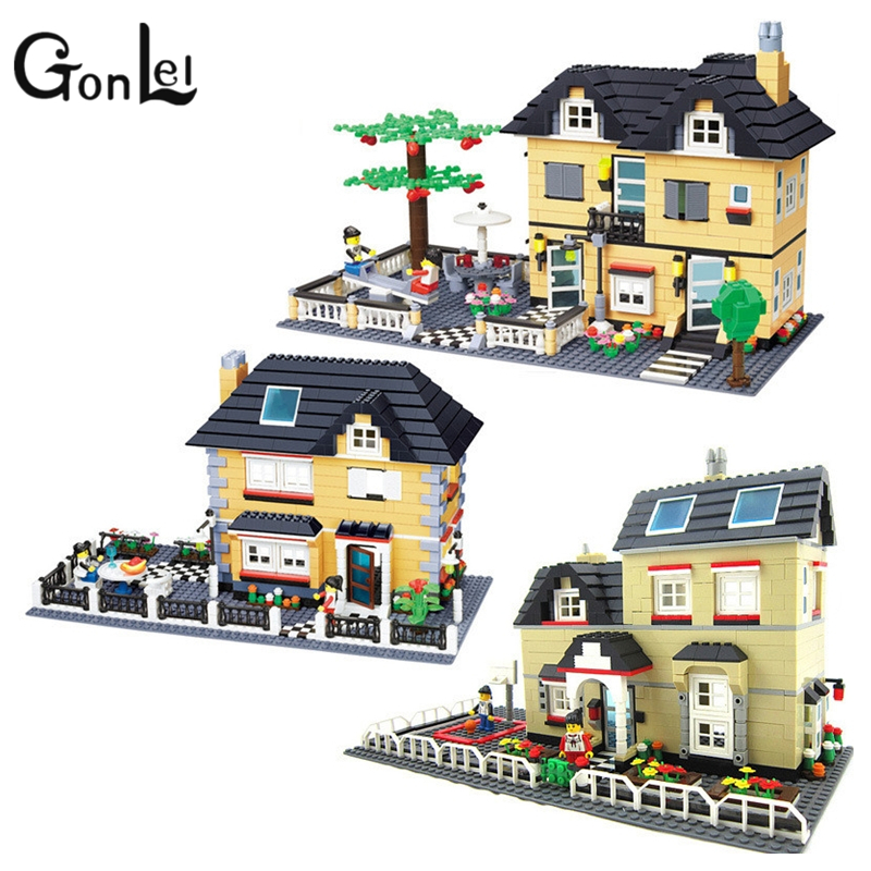 GonLel WANGE City Villa Garden Building Blocks Sets Doll House Bricks Model Kids Children gifts Toys