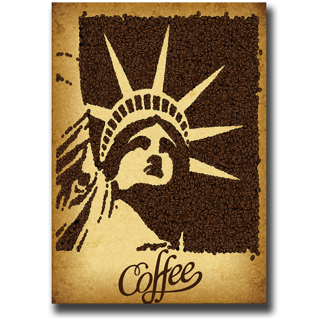 Hand Painted Coffee Bean Statue Of Liberty Oil Painting On Linen