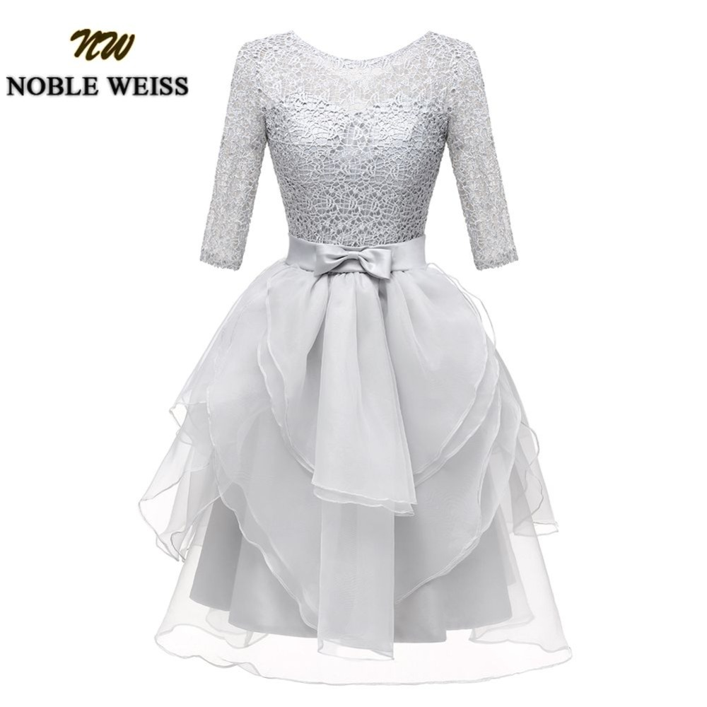 NOBLE WEISS Mini Short Lace Prom Dress Customized Slivery Scoop Organza Wedding Party Gown Dresses With Three Quarter Sleeves